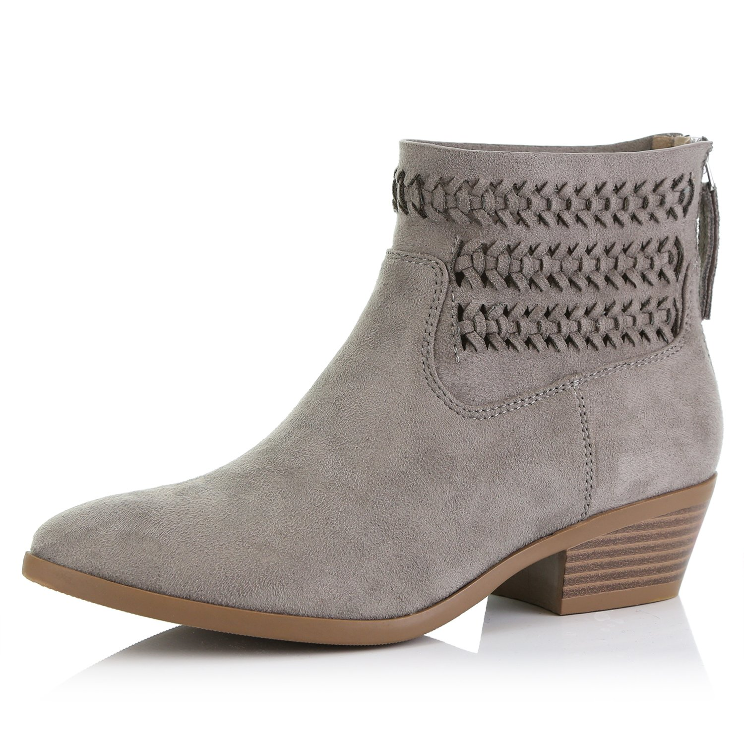 DailyShoes Women's Western Cowboy Bootie - Ultra Comfortable and Soft Lining Slip on Low Heel Cowgirl Closed Pointed Toe Boot, Grey Suede, 8 B(M) US
