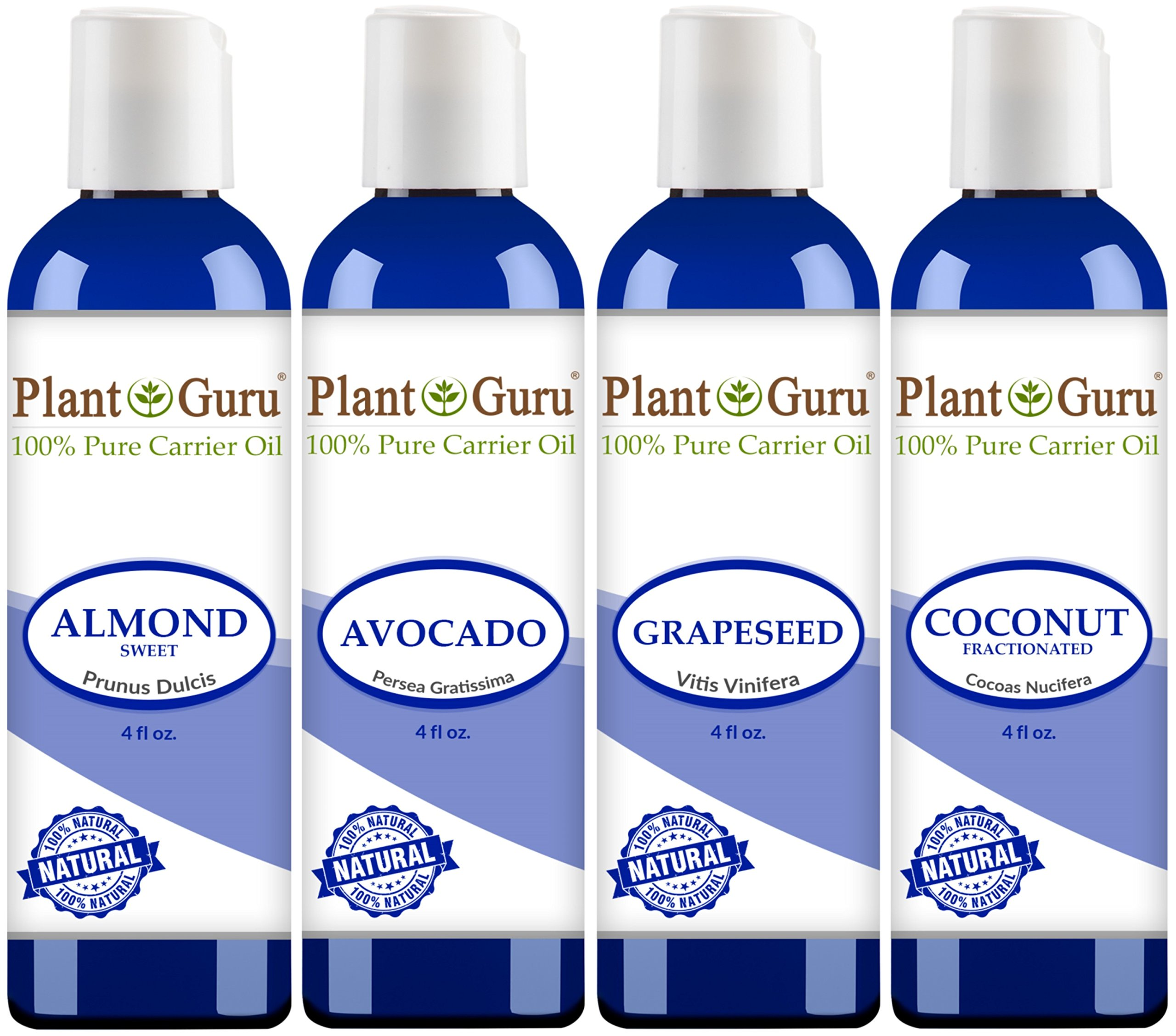 Carrier Oil Variety Set 4 oz - Cold Pressed 100% Pure Natural, Almond, Avocado, Coconut Fractionated, Grapeseed. For Aromatherapy, Essential Oils, Skin and Hair Moisturizer. Perfect for Body Massage.