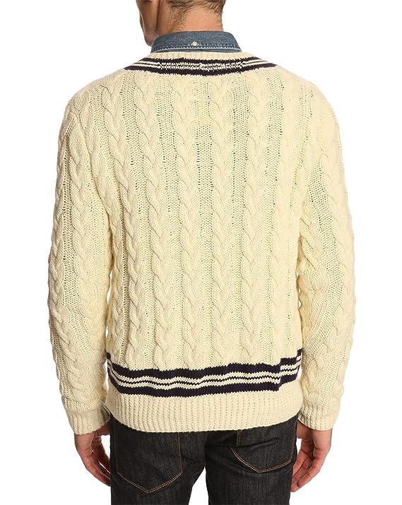 fb69188e169d05 POLO Ralph Lauren - Pulls col V - Homme - Pull Cricket Cable Crème - L   Amazon.fr  Vêtements et accessoires