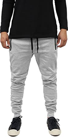 a8912a01b57a20 Hat and Beyond Mens Casual Jogger Pants Hipster Zipper Fleece Active  Elastic Slim Fit (Small