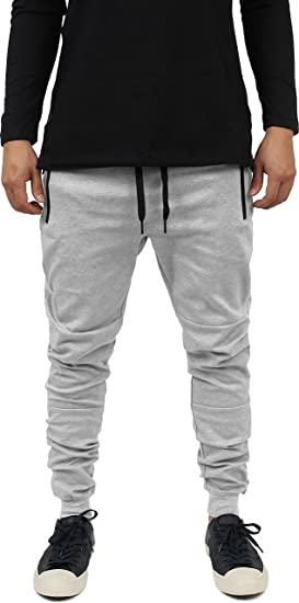 d8cc0e81e0c Hat and Beyond Mens Casual Jogger Pants Hipster Zipper Fleece Active  Elastic Slim Fit (Small