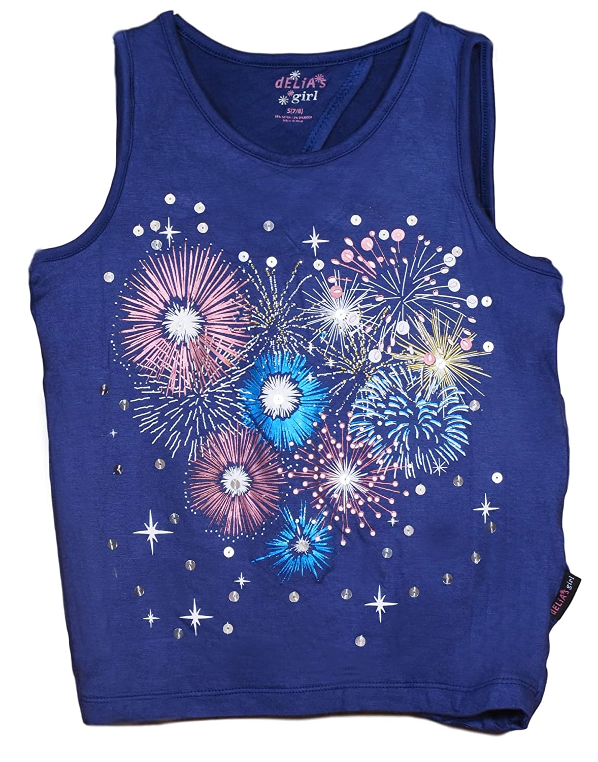 dELiAs Girls Graphic Tank Top Fireworks Design Tee