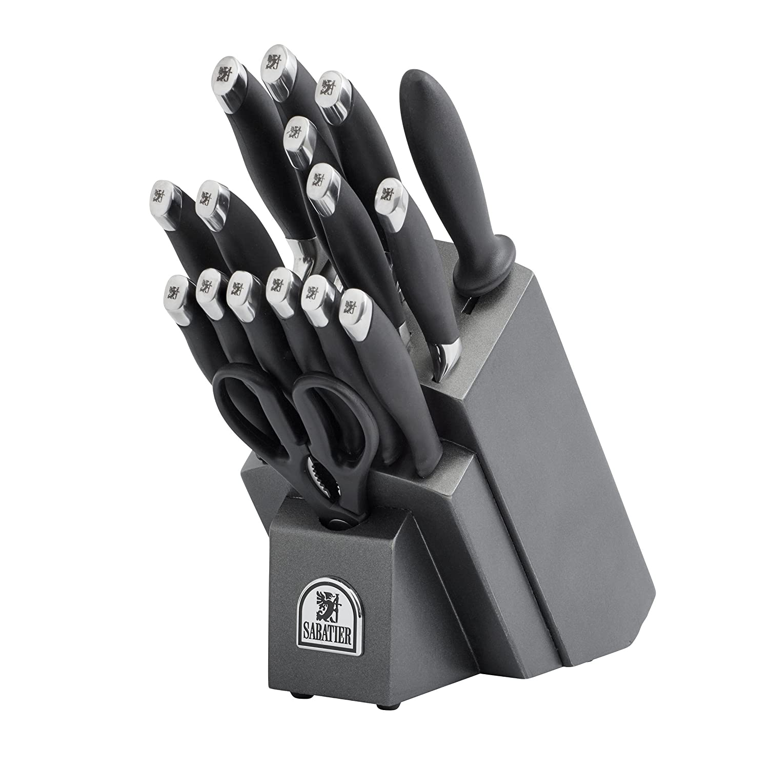 amazon com sabatier 17 piece soft grip forged stainless steel amazon com sabatier 17 piece soft grip forged stainless steel knife block set kitchen utility knives kitchen dining