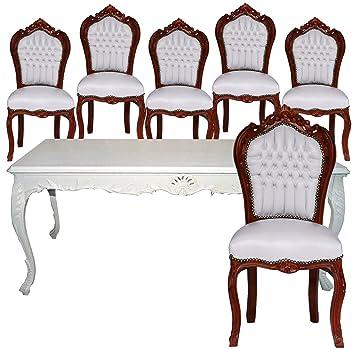 Esstisch 6 Stühle Barock Esszimmer Möbel Set mahagoni Bezug & Tisch ...