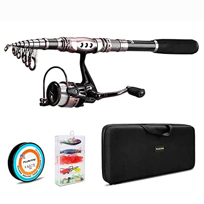 PLUSINNO Spinning Rod and Reel Combos FULL KIT Telescopic Fishing Rod Pole with Reel Line Lures Hooks Fishing Carrier Bag Case and Accessories Fishing Gear Organizer …