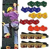 Ogrmar 15 Packs Ninja Tree Rock Climbing Holds Kits with 6 Ratchet Straps for Kids & Adults Outdoor Backyard Ninja Tree…