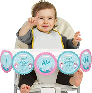 Big Dot of Happiness Narwhal Girl 1rst Birthday Highchair Decor - I Am One - First Birthday High Chair Banner
