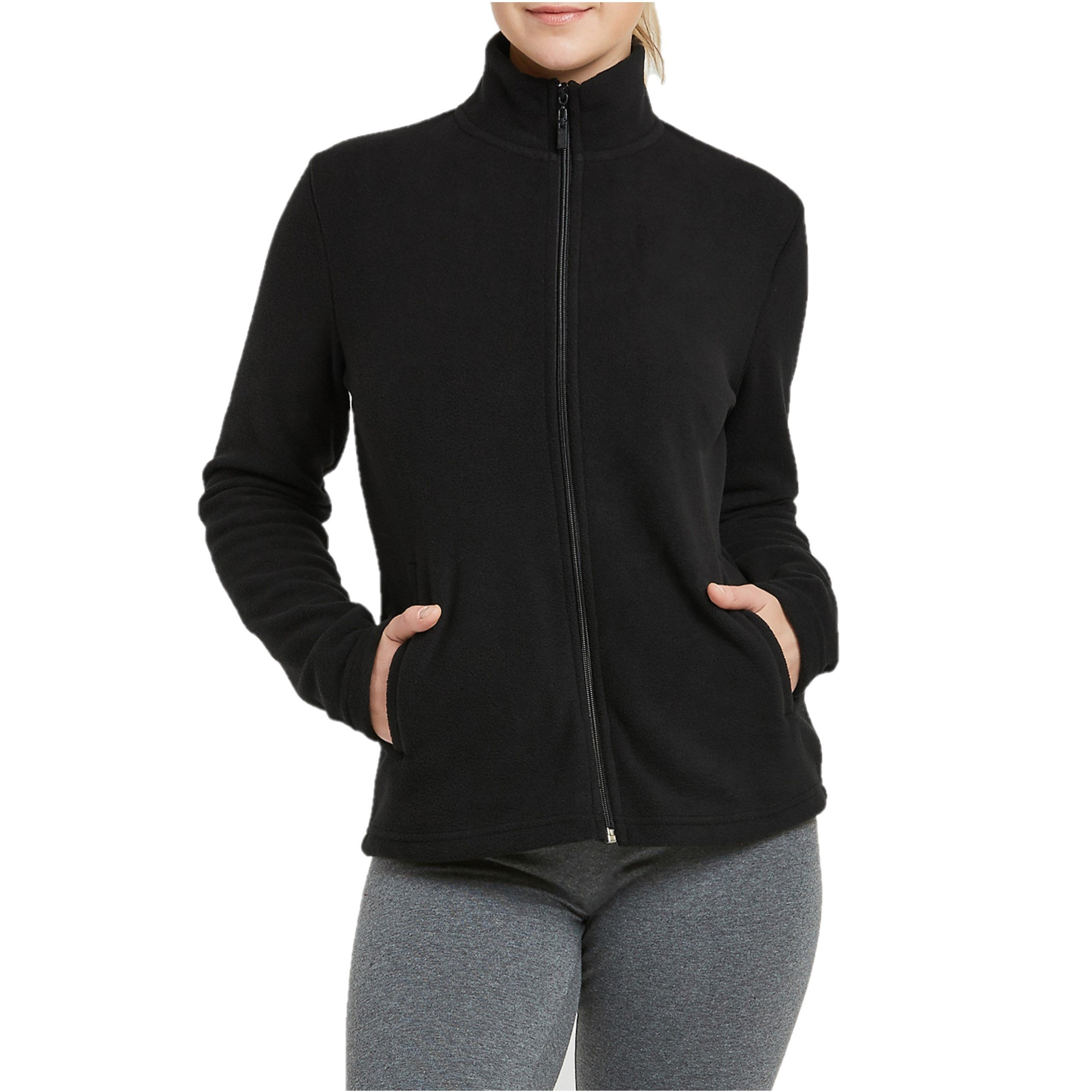 Mechaly Women Classic Full Zip Long Sleeve Polar Fleece Jacket (Black, Large)