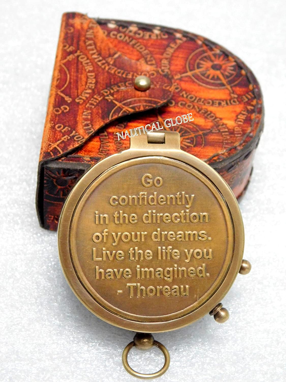 Thoreau's Go Confidently Gravur, Kompass mit Gravur, Confidently mit Lederetui bd9d6b