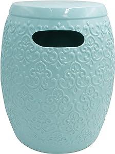 "Amazon Brand – Ravenna Home Damask-Pattern Ceramic Garden Stool or Side Table, 16""H, Light Blue"