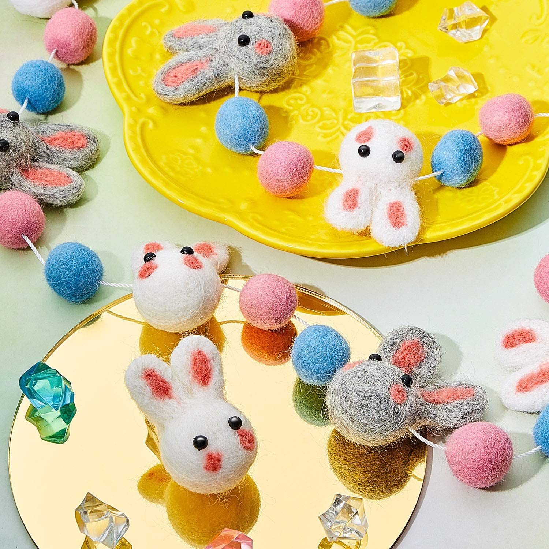 2 Pieces Wool Felt Rabbit Ball Garland Easter Colorful Pom Pom Garland Handmade 6.5 Feet 14 Felt Balls and 6 Felt Rabbit Balls for Wall Easter Spring Tree Decoration