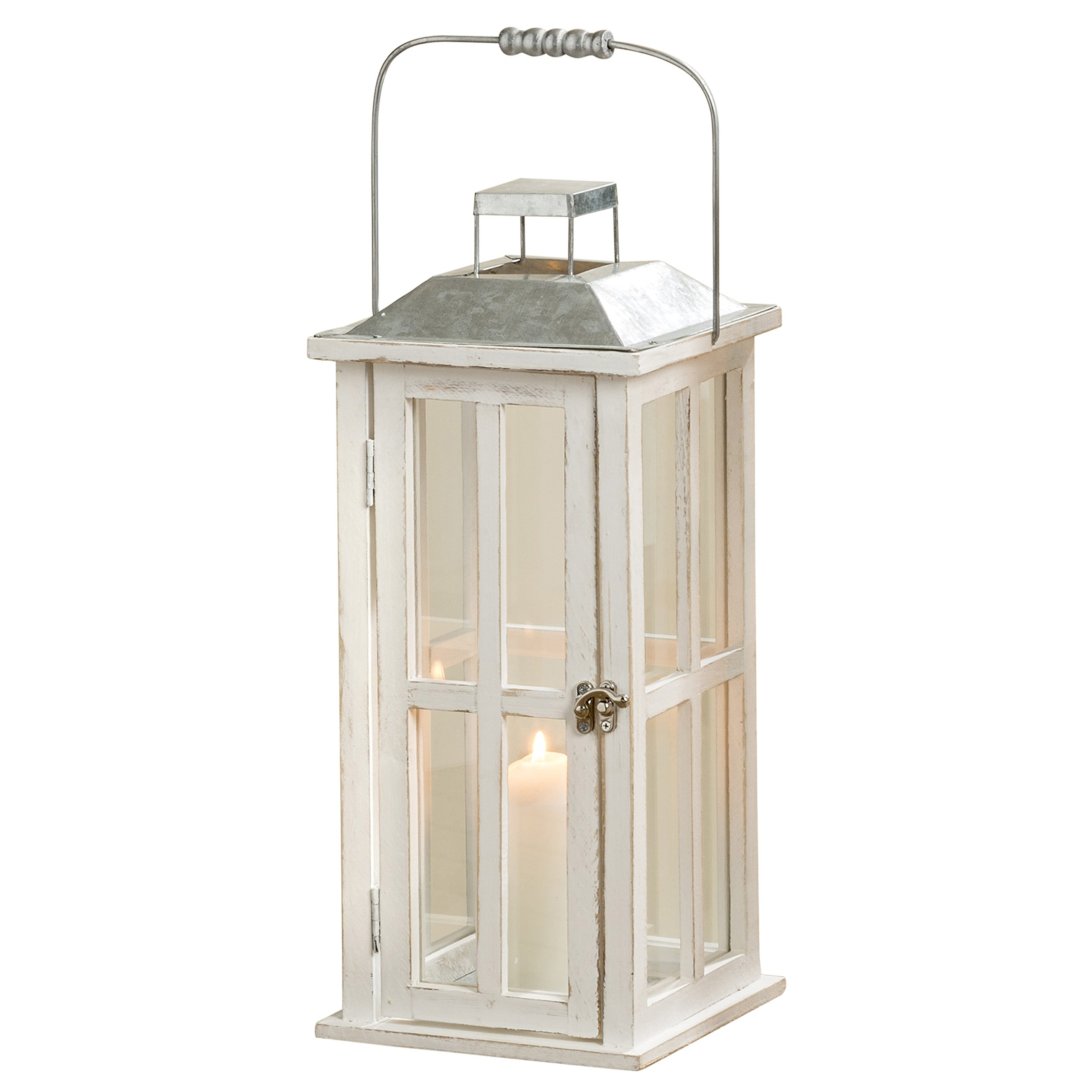 Whole House Worlds The Farm Fair Tall Candle Lantern, Galvanized Metal, Rustic Roof, White Washed Wood, Distressed Shabby Finish, Vintage Style, 2 Ft Tall, (23 1/2 Inches) By