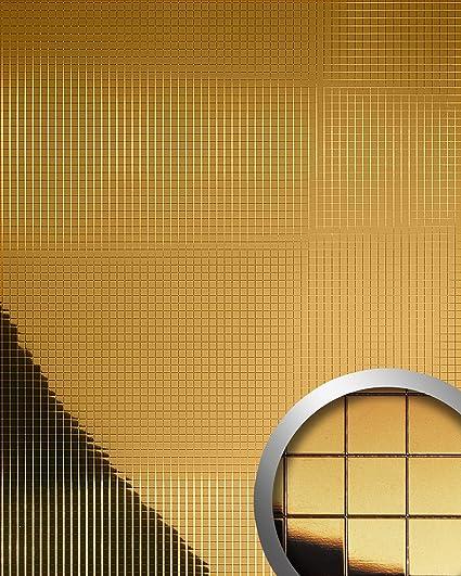 Panel decorativo autoadhesivo flexible mosaico cuadrado WallFace 10581 M-Style M con efecto espejo color