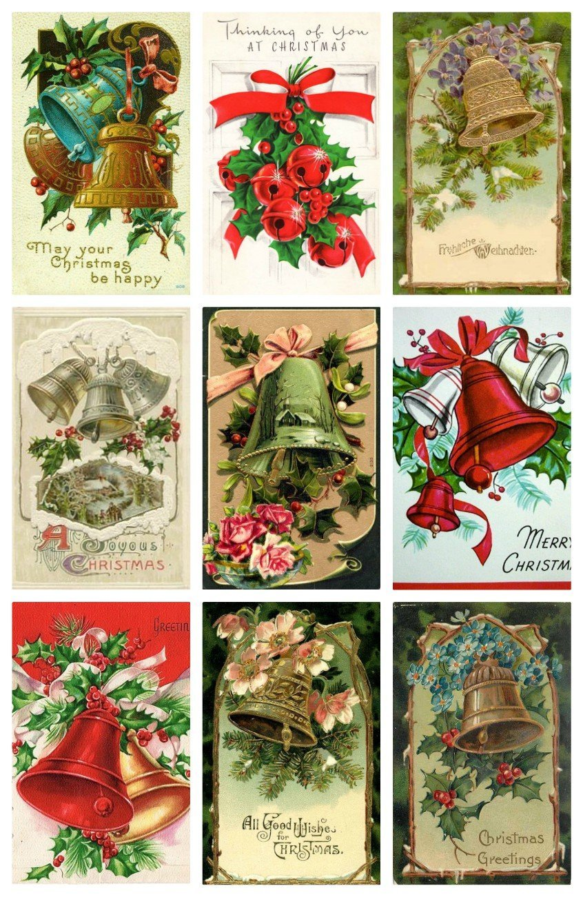 Victorian Vintage Winter Christmas Bells Card #101 Printed Collage Sheet 8.5 x 11