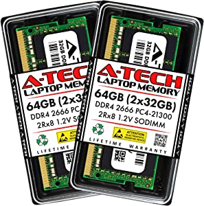 A-Tech 64GB (2x32GB) DDR4 2666MHz SODIMM PC4-21300 2Rx8 Dual Rank 260-Pin CL19 1.2V Non-ECC Unbuffered Notebook Laptop RAM Memory Upgrade Kit