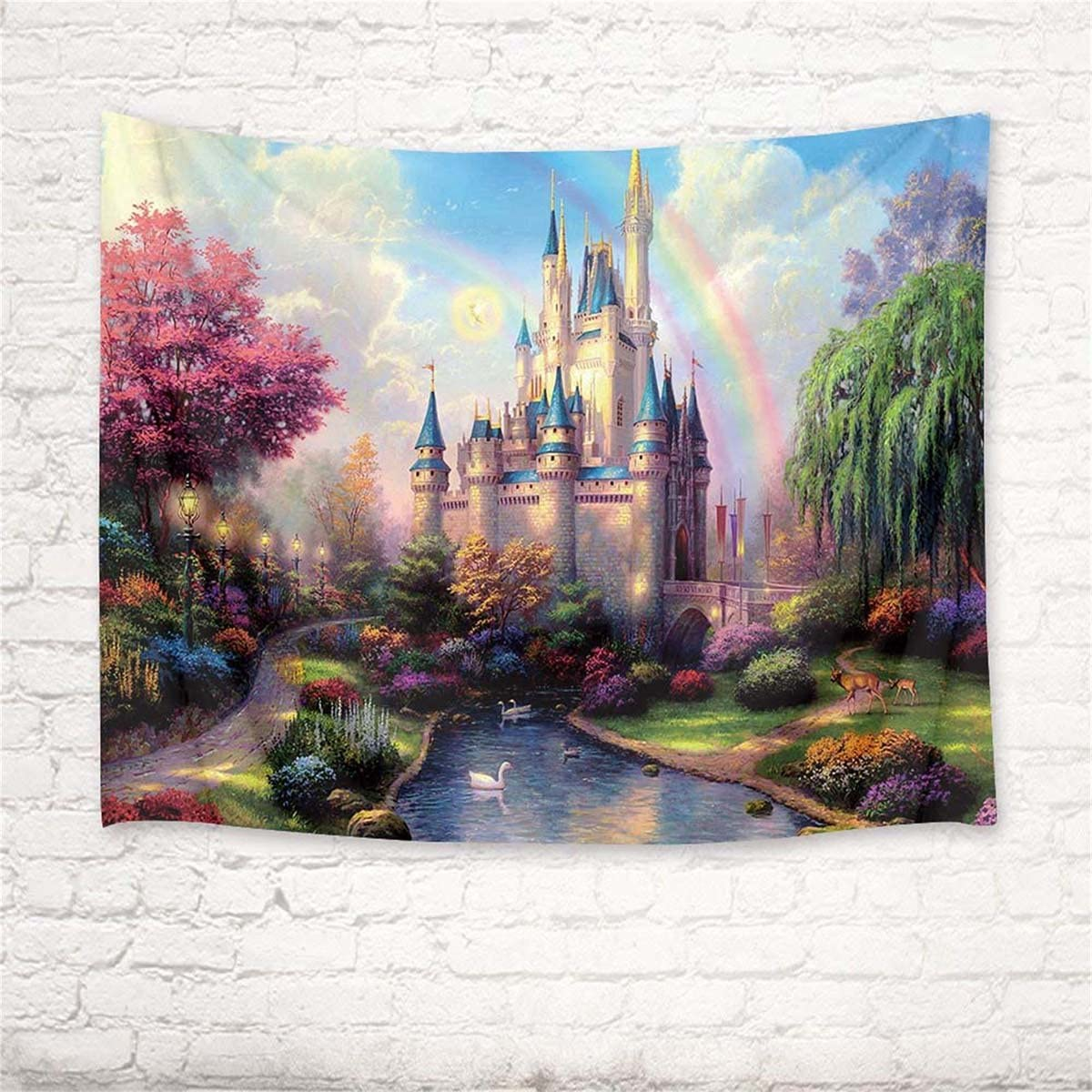 HVEST Castle Tapestry Trees and River in Fantasy Forest Wall Hanging Fairy Tale Tapestries for Kids Bedroom Living Room Dorm Party Wall Decor,92.5Wx70.9H inches