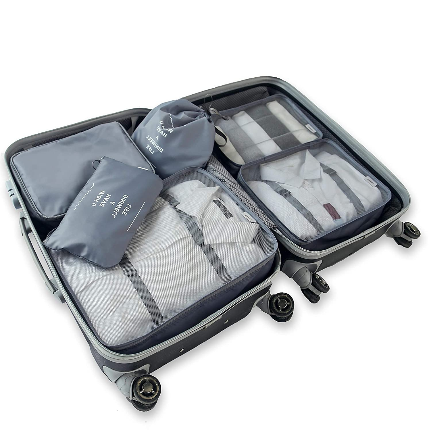 6PCS Luggage Bags for Packing,Packing Cube Bag Mesh Organizers Bags for Packing Suicase