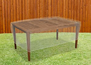 LAMINET Crystal Clear Heavy-Duty Waterproof Plastic Outdoor Furniture Cover - Rectangular Table Cover - 3 Season Protection - Keep Rain, Snow & Debris Off! Premium Protection at Economy Price!