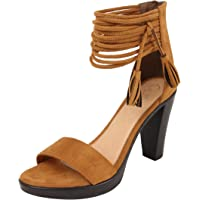 Catwalk Tan Suede Heeled Pumps for Women's