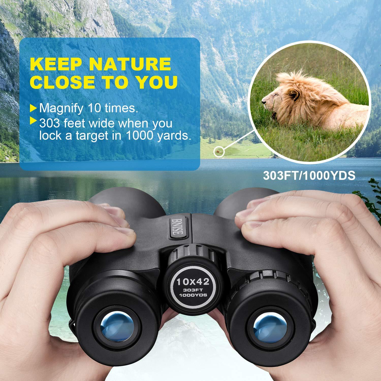 Binoculares Compactos 10X42 para Adultos Conciertos Viajera Port/átil de Largo Alcance para observaci/ón de Aves Alta Potencia HD BAK4 Prisma de Techo Caza,/Ópera Prism/áticos Profesionales
