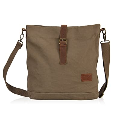 Amazon.com | Hynes Eagle Canvas Notebook Small Messenger Bag (Army ...