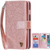 iPhone 6S Plus Case,iPhone 6 Plus Wallet Case, BENTOBEN Luxury Shiny Bling Flip Folio Wallet Case Credit Card Slots Cash Holder Nickel Plated Press Stud Wrist Strap Magnetic Snap Closure,Rose Gold