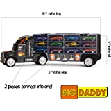 Big-Daddy Tractor Trailer Car Collection Case Carrier Transport Toy Truck For Kids Includes 12 Cars + Accessories