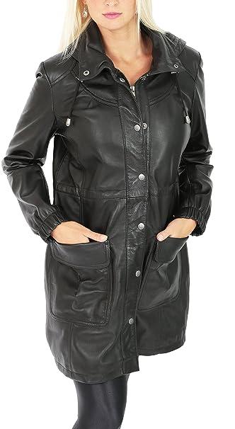 House Of Leather Mujer 3/4 Longitud Parka Abrigo de Lona Cuero con Capucha Desmontable