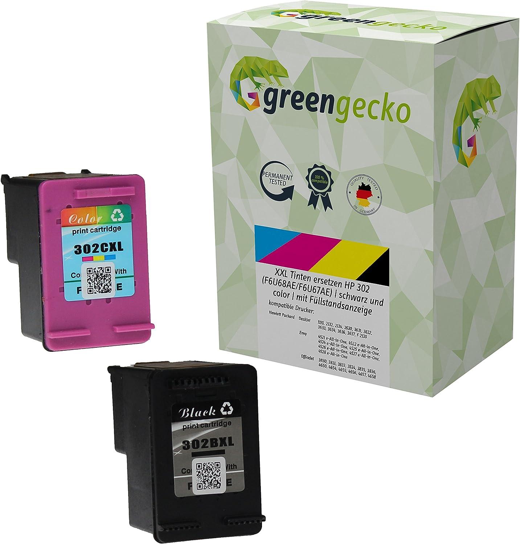 XXL Cartuchos de tinta compatibles con HP 302 (F6U68AE / F6U67AE) / más de 100% de capacidad adicional / para HP Deskjet 3630, HP officejet 3830, 4650 / negro y cartuchos de