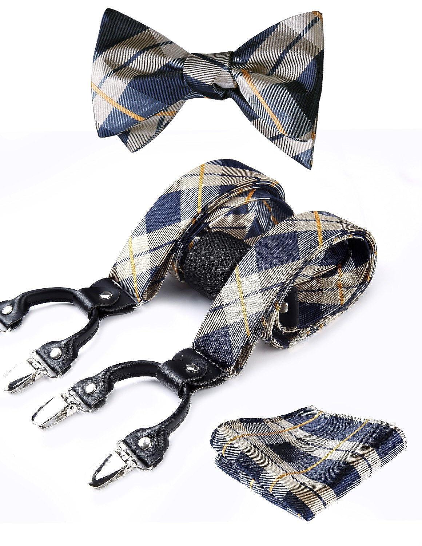 Hisdern controllare Stripe 6 clip Bretella & Cravatta a farfalla & Pocket Square Set Forma a Y Regolabile bretelle Marrone SC4006NS3