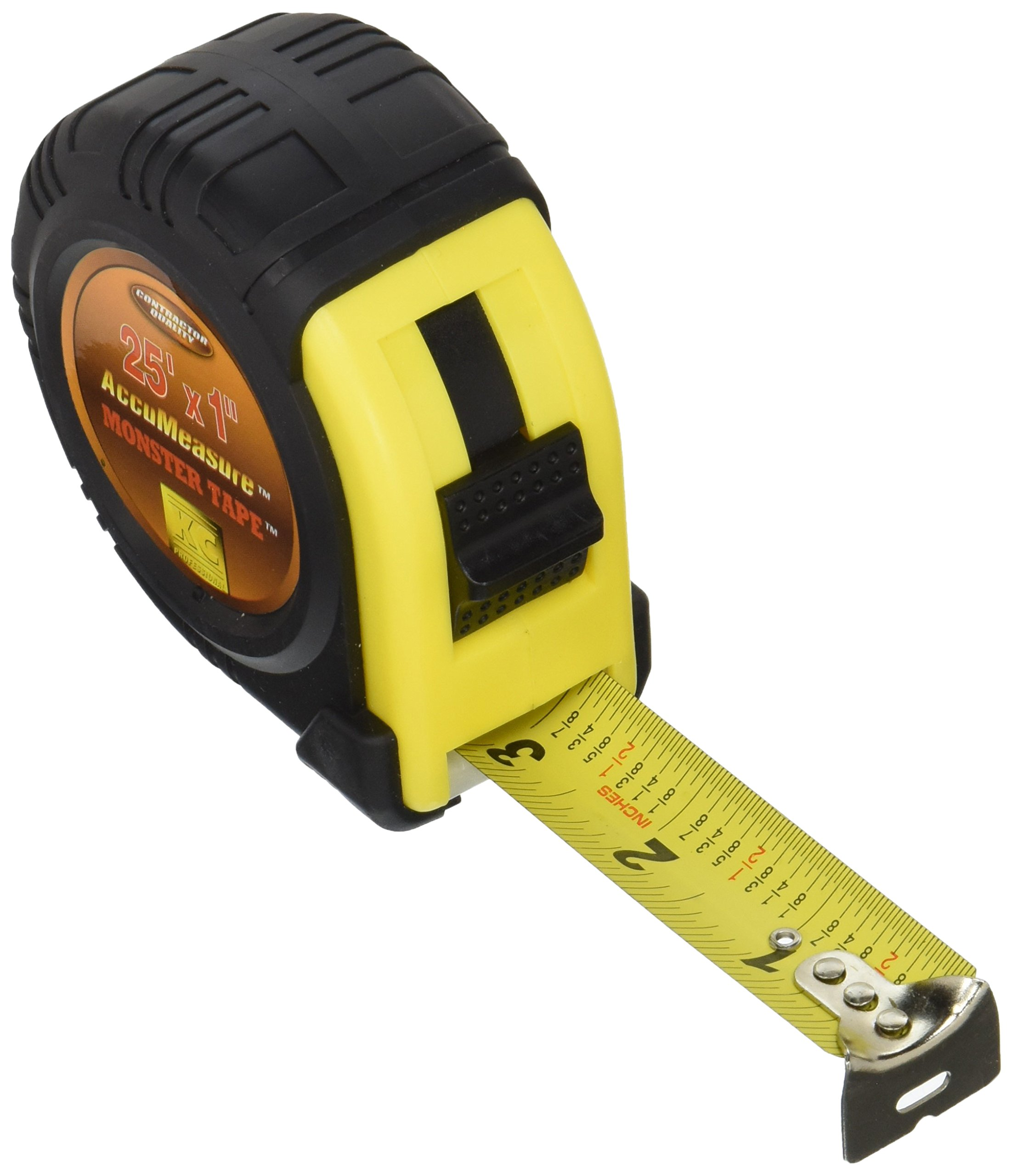 25FT. x 1''wide Rubber Covered Case TAPE MEASURE Power Locking