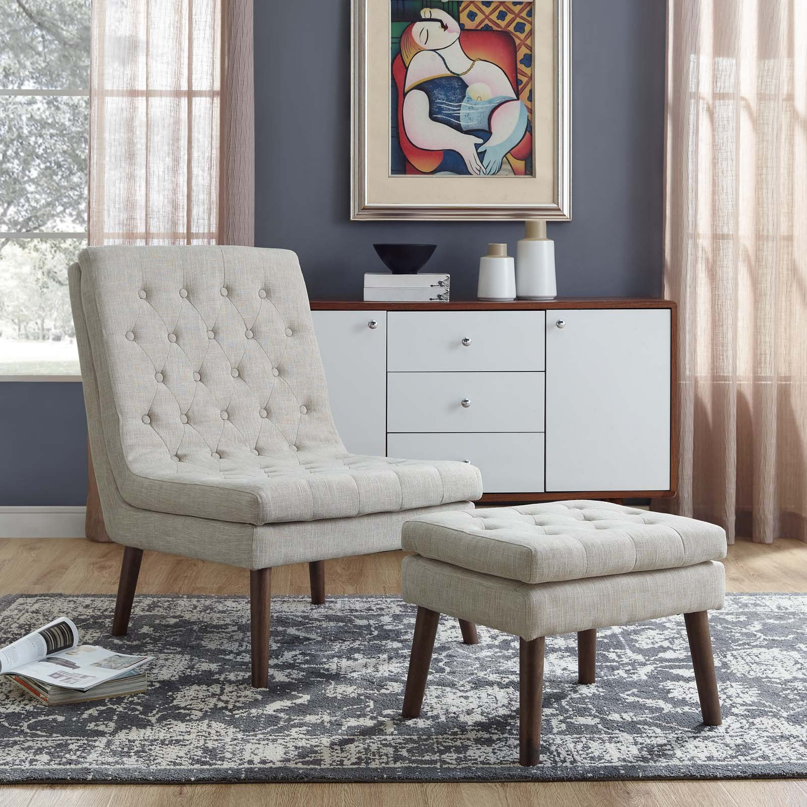 Modway Modify Tufted Modern Lounge Accent Chair and Ottoman Set in Beige by Modway