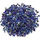 SUNYIK Lapis Lazuli Tumbled Chips Stone Crushed Pieces Irregular Shaped Stones 1pound(about 460 gram)