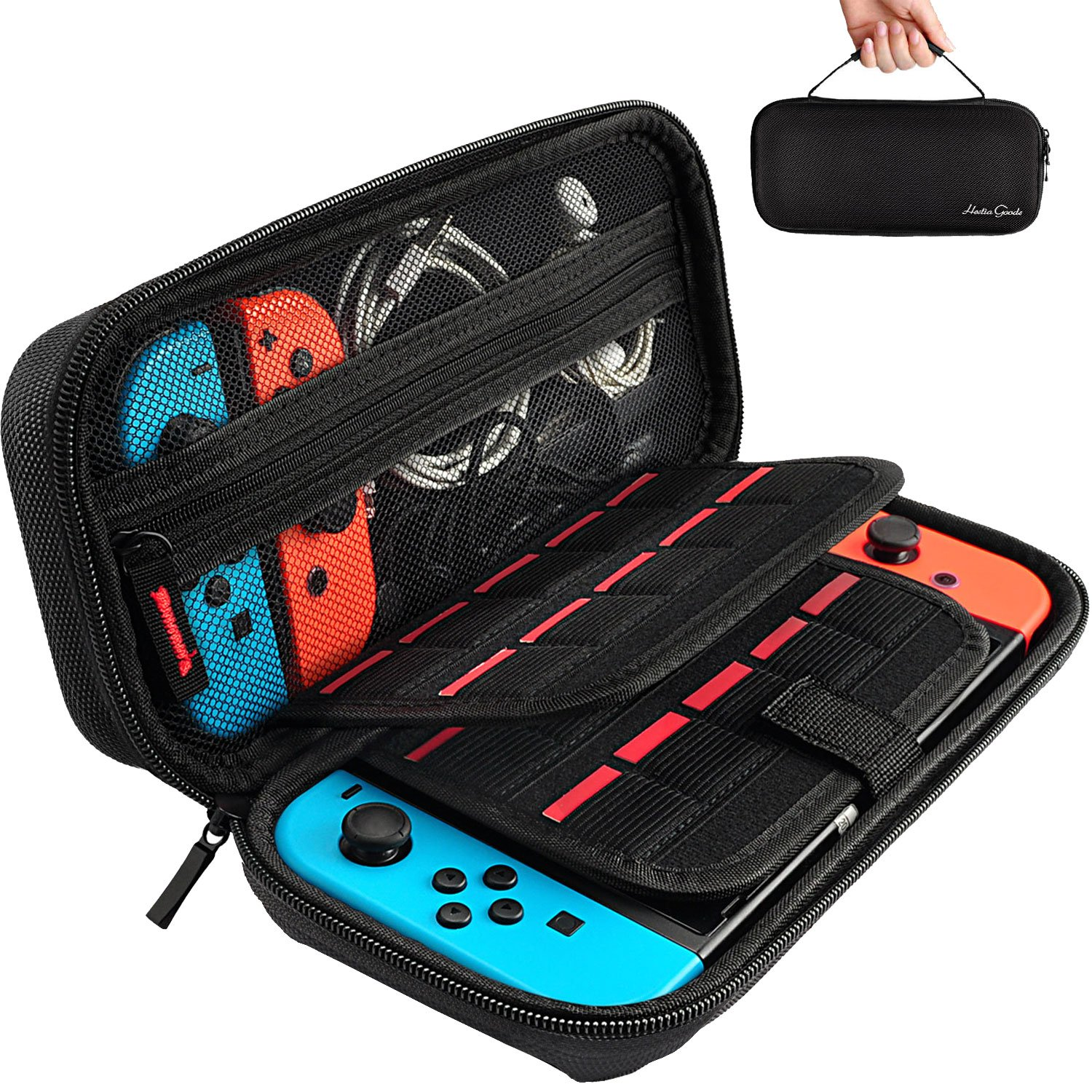 Carrying Case for Nintendo Switch with 20 Game Cartridges, Protective Hard Shell Travel Carrying Case Pouch for Nintendo Switch Console & Accessories, Black product image