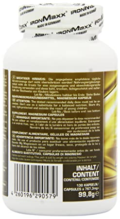 Amazon.com: Ironmaxx Flacon de 130 capsules de magnésium 910 mg: Health & Personal Care