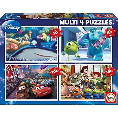 Pixar Toy Story Finding Nemo Dory Cars Monsters 4 in a Box Puzzles Ages 5 and Up: Toys & Games