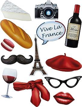 Generique - Kit photocall Tema Francia 13 Accesorios: Amazon.es: Juguetes y juegos