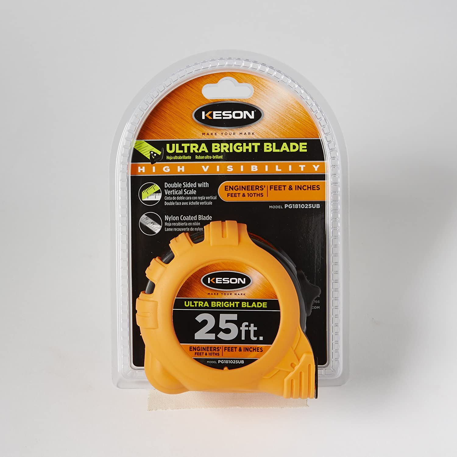 Graduations: 1//10, 1//100 /& ft, in, 1//8 1-Inch by 33-Foot Keson PG181033UB Short Tape Measure with Nylon Coated Ultra Bright Steel Blade