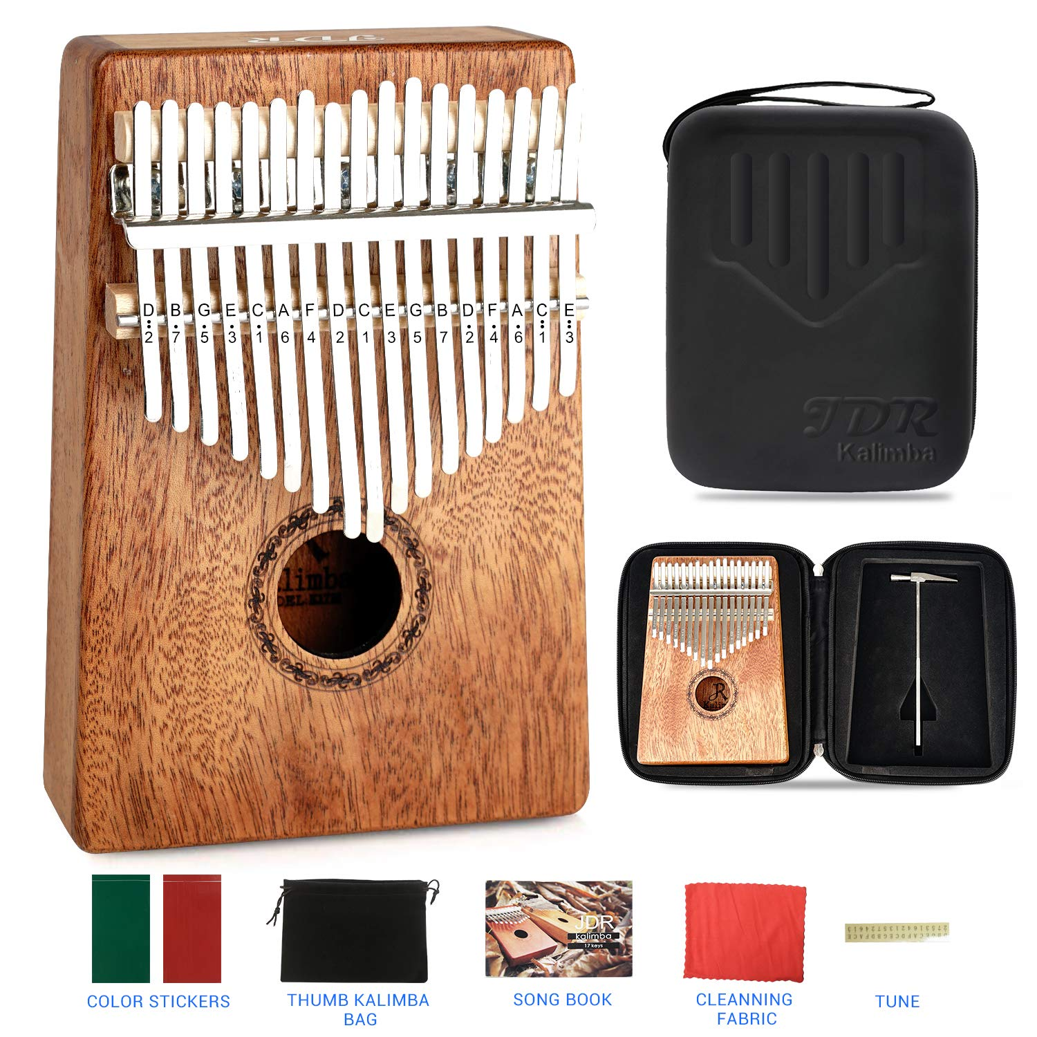 JDR 17 Keys kalimba, Thumb Piano with EVA Waterproof Hard Protective Case, Tuning Hammer and Music book, Unique and great birthday gift for musicians or kids without any musical basis by JDR (Image #1)
