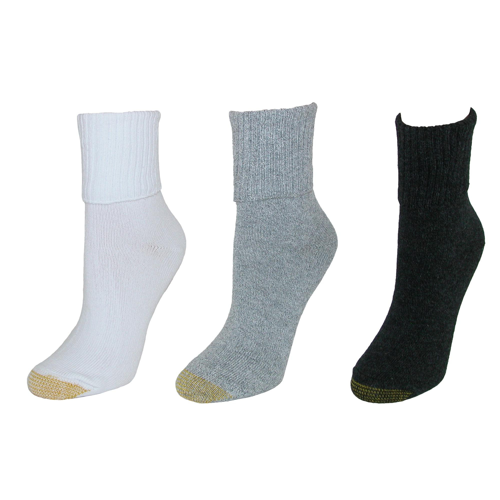 Gold Toe Women's Turn Cuff Bermuda Socks (3 Pair Pack), Grey and White