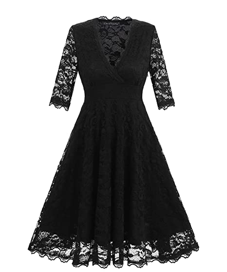 673a53cb700f BEJG Women s Short 1 2 Sleeve Lace Prom Dresses Formal Retro Vintage Swing  Party Cocktail