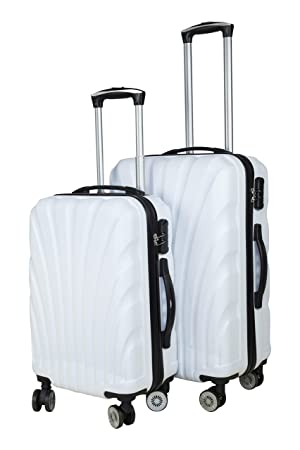 3G Combat 8018 Series 4 Wheel Hard Sided Luggage 20 and 24 Inch ABS Trolley Travel Bag Suitcase (White) - Set of 2