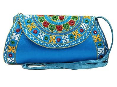 Amazon.com  Handmade Embroidery Traditional ethnic Indian Vintage Banjara boho  hobo Sling cross body women messenger clutch wallet cotton party gypsy purse  ... 604d09df77cb1