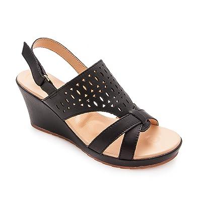 Zerimar Leder Sandalen Damen   Sandalen Damen Sommer   Sandalen Espadrilles  Damen   Farbe  Schwarz 8d99a51f8e
