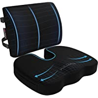 Fortem Seat Cushion & Lumbar Support for Office Chair, Car, Wheelchair, Memory Foam Pillow, Washable Covers (Black)