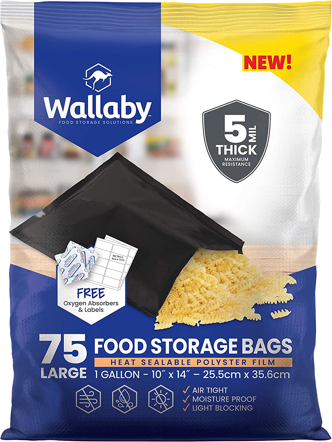 Wallaby Mylar Bag Bundle, (75x) -1 Gallon - Matte Black (5 Mil - 10''x14'') With 80x-400cc Oxygen Absorbers and 80x Labels - Heat Sealable, FDA Grade, for Long Term Food Storage & Food Survival