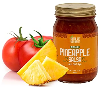 Green Jay Gourmet Pineapple Salsa - Pineapple Jalapeno Salsa - Medium Heat Picante Salsa - Gourmet