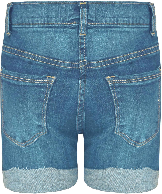 Kids Girls Shorts Denim Ripped Chino Bermuda Jeans Short Half Pants Age 5-13 Yr