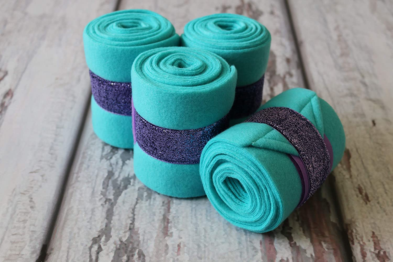Polo Wraps//Stable Wraps Set of 4 Turquoise Base Purple Glitter