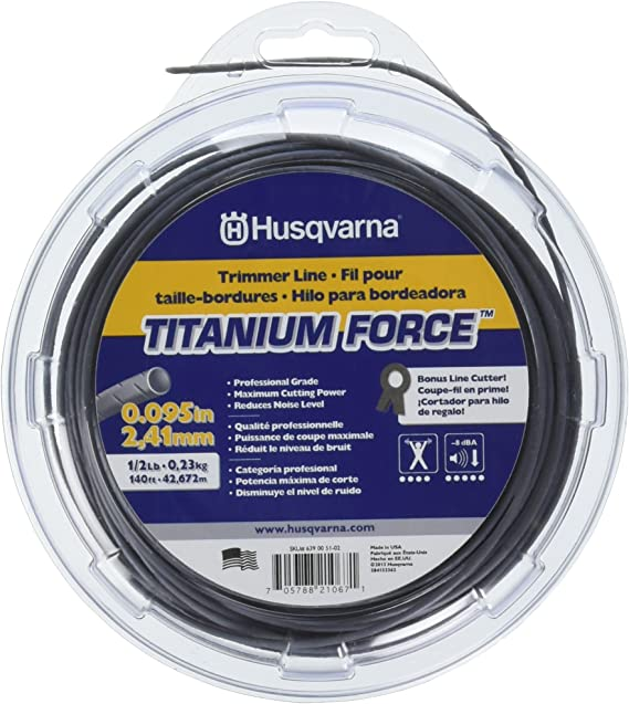 "Husqvarna Titanium Force 0.095"" By 1/2"" String Trimmer Lines - Most Fuel Efficient Trimmer Line"